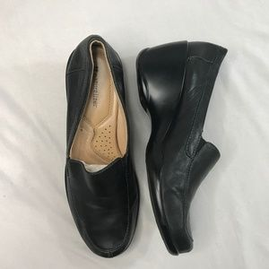 Naturalizer Black Leather Wedge Slip On Loafer 9.5